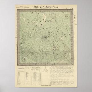 Star map of North polar region Posters