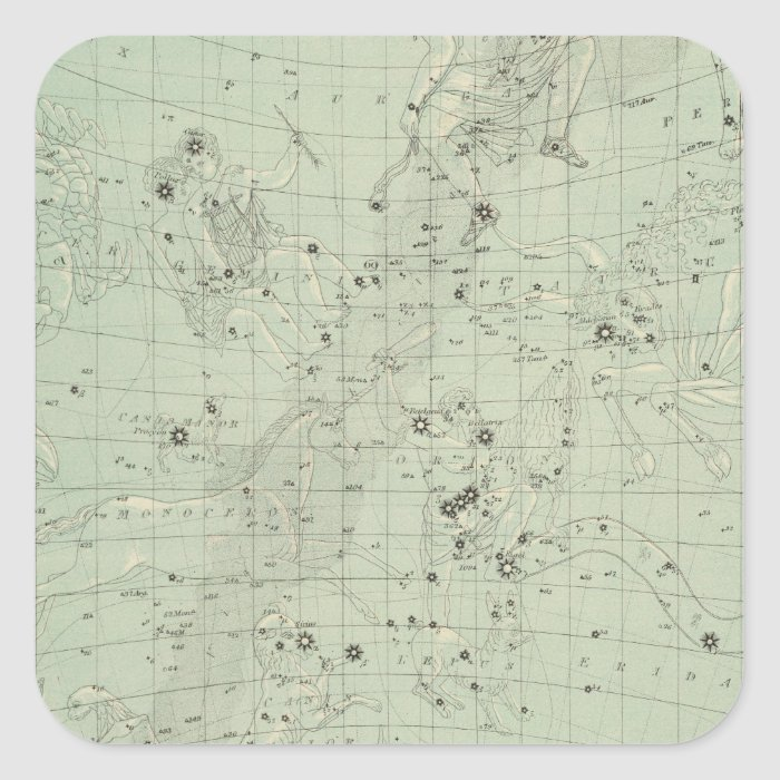 Star map square sticker