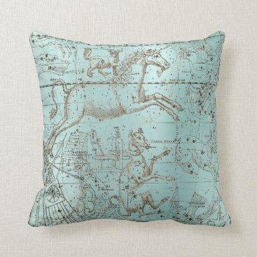 Beach Themed Star Map Unicorn Dog Canis Steel Aqua Water Ocean Throw Pillow