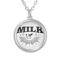 Star milk black cow silver plated necklace