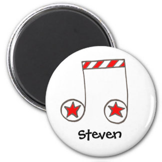 Star Musical Note 2 Inch Round Magnet