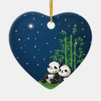 Star Night Panda Double-Sided Heart Ceramic Christmas Ornament