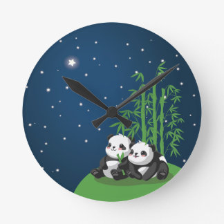 Star Night Panda Round Clock