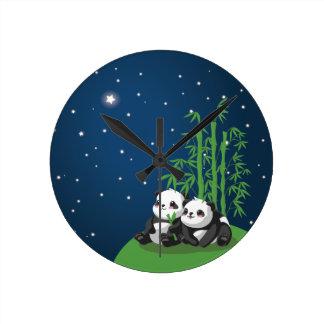 Star Night Panda Round Wallclocks