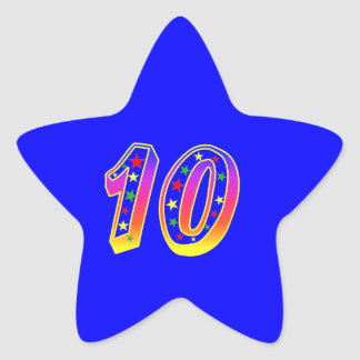 Star Number 10th Birthday Party Sticker