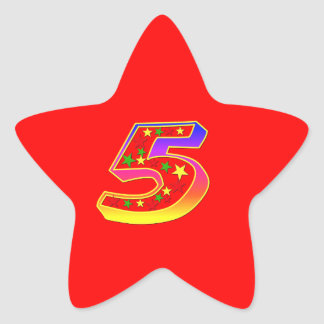 Star Number 5th Birthday Party Sticker