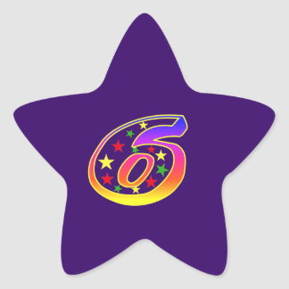 Star Number 6th Birthday Party Sticker