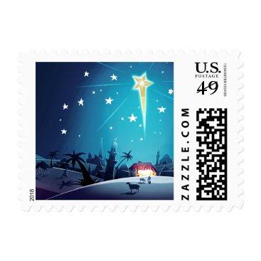 Christmas Themed Star of Bethlehem. Christmas Postage Stamps