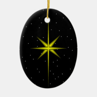 Star of Bethlehem Double-Sided Oval Ceramic Christmas Ornament