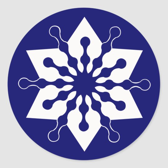 Star of Christmas Winter Ice Crystal Snowflake Classic Round Sticker