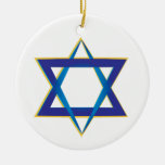 Star Of David 1 Double-Sided Ceramic Round Christmas Ornament