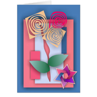 Star of David and Abstract Flowers Greeting Card