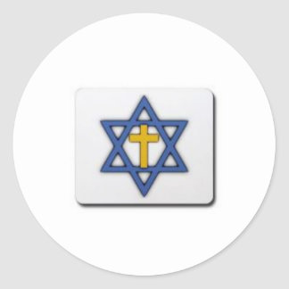 star of david and cross classic round sticker