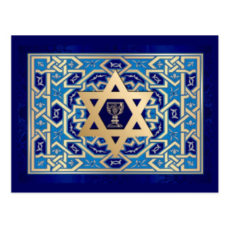 Star of David and Kiddush Cup Passover Postcards