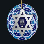 "Star of David and Menorah Design Hanukkah Ornament<br><div class=""desc"">Happy Hanukkah 