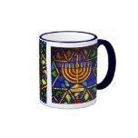 STAR OF DAVID AND MENORAH RINGER COFFEE MUG