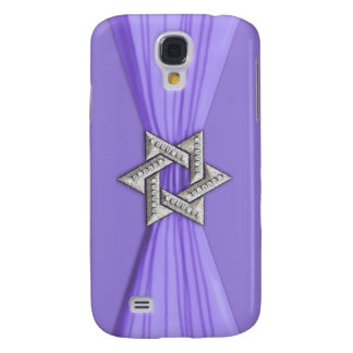 Star of David and Ribbon Purple Galaxy S4 Cases