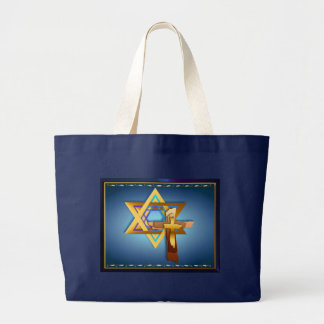 Star Of David and Triple Cross Jumbo Tote Bag