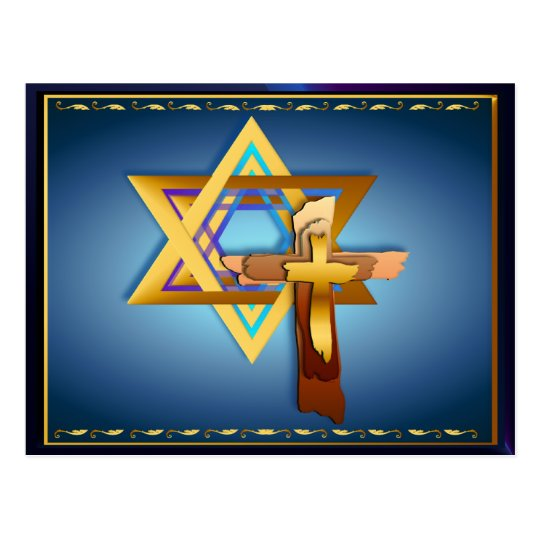 Star Of David and Triple Cross Postcard