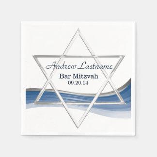 Star of David Bar Mitzvah Blue and Silver Napkin