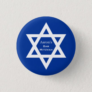 Star of David Bar Mitzvah blue Pinback Button