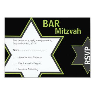 Star of David Bar Mitzvah Bright Green & Grey RSVP 9 Cm X 13 Cm Invitation Card