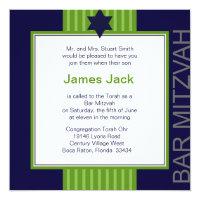 Star of David Bar Mitzvah - green & blue ribbon Card