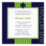 Star of David Bar Mitzvah - green & blue ribbon Personalized Invitation