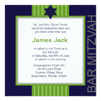 Star of David Bar Mitzvah - green & blue ribbon Personalized Invitation
