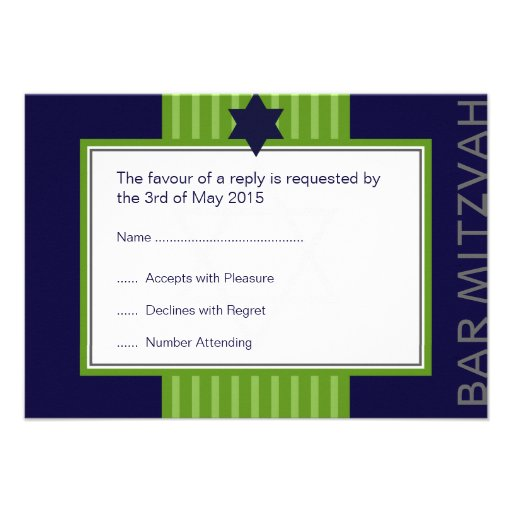 Star of David Bar Mitzvah green & blue ribbon RSVP Announcements