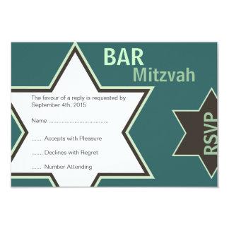 Star of David Bar Mitzvah Green & Brown RSVP 3.5x5 Paper Invitation Card