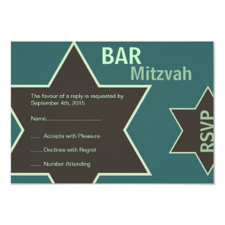 Star of David Bar Mitzvah Green & Brown RSVP 9 Cm X 13 Cm Invitation Card