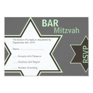 Star of David Bar Mitzvah Green & Grey RSVP 9 Cm X 13 Cm Invitation Card