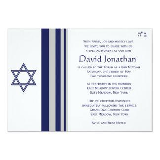 "Star of David Bar Mitzvah Invitation 5"" X 7"" Invitation Card"