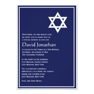 Star of David Bar Mitzvah Invitation Shining Star