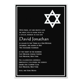 "Star of David Bar Mitzvah Invitation Shining Star 5"" X 7"" Invitation Card"