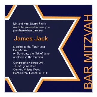Star of David Bar Mitzvah Orange & Blue Card