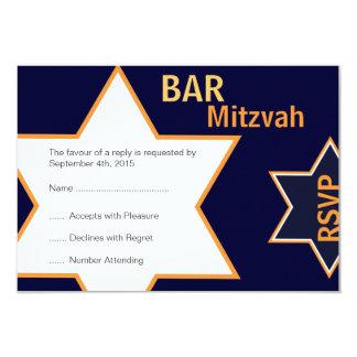 Star of David Bar Mitzvah Orange & Blue RSVP Card