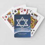 """Star of David Bar Mitzvah Playing Cards<br><div class=""""desc"""">Star of David over our gradient blue wave design bar mitzvah playing cards.  Personalize with name or other text.</div>"""