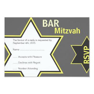 Star of David Bar Mitzvah Yellow & Grey RSVP 9 Cm X 13 Cm Invitation Card