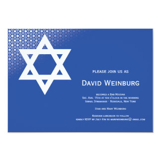 Star of David Blue Bar Mitzvah Invitation