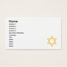 Star Of David Business Card at Zazzle