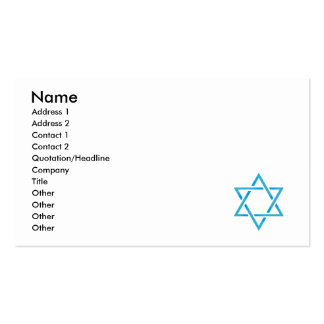 Star of David Business Card Template