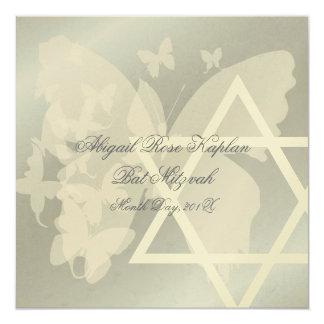 Star of David/Butterfiles Bat Mitzvah invitations, 5.25x5.25 Square Paper Invitation Card