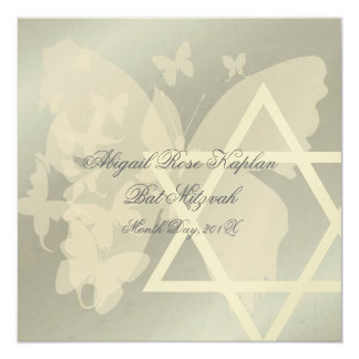 Star of David/Butterfiles Bat Mitzvah invitations, Card