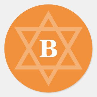 STAR OF DAVID cool bold initial orange Classic Round Sticker