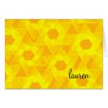 Star of David Damask Bright Yellow Greeting Cards