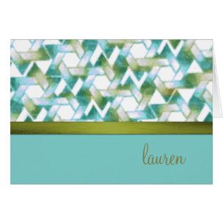 Star of David Damask Green and Aqua Card