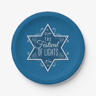 Star of David Festival of Lights Blue Hanukkah Paper Plate
