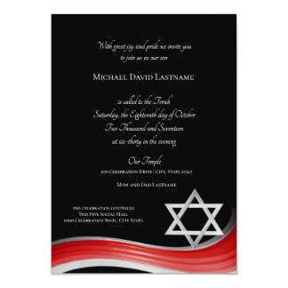 Star of David Gradient Red Bar Mitzvah Card